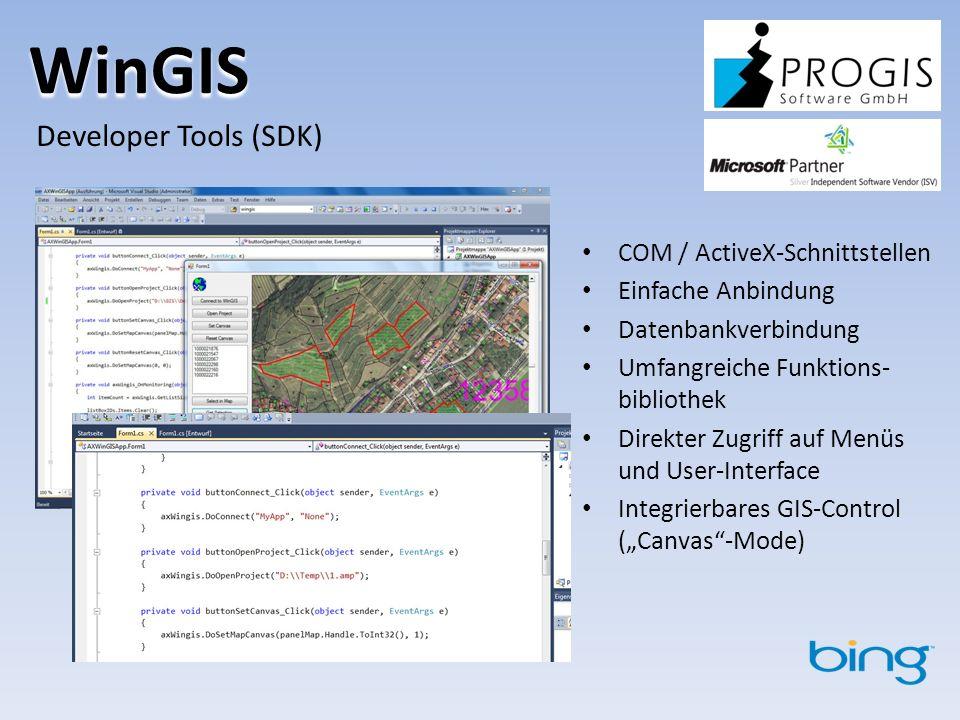 WinGIS Developer Tools (SDK) COM / ActiveX-Schnittstellen Einfache Anbindung Datenbankverbindung Umfangreiche Funktions- bibliothek Direkter Zugriff auf Menüs und User-Interface Integrierbares GIS-Control (Canvas-Mode)