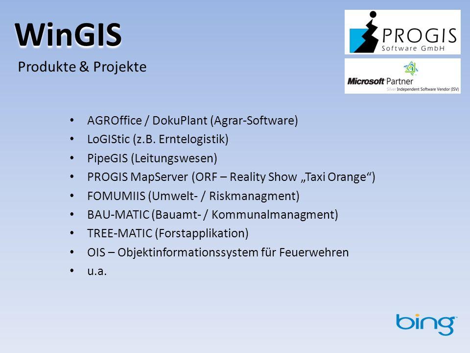 WinGIS Produkte & Projekte AGROffice / DokuPlant (Agrar-Software) LoGIStic (z.B.