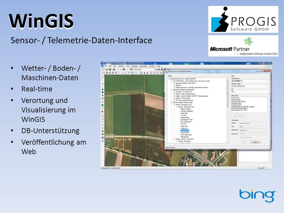 WinGIS Sensor- / Telemetrie-Daten-Interface Wetter- / Boden- / Maschinen-Daten Real-time Verortung und Visualisierung im WinGIS DB-Unterstützung Veröffentlichung am Web