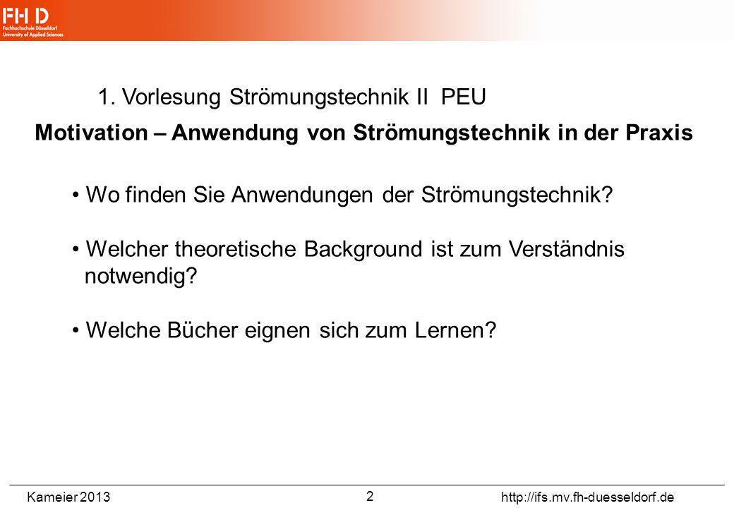 Kameier 2013 http://ifs.mv.fh-duesseldorf.de Motivation – Anwendung von Strömungstechnik in der Praxis Strömungsmaschinen- Turbinen - Pumpen - Verdich