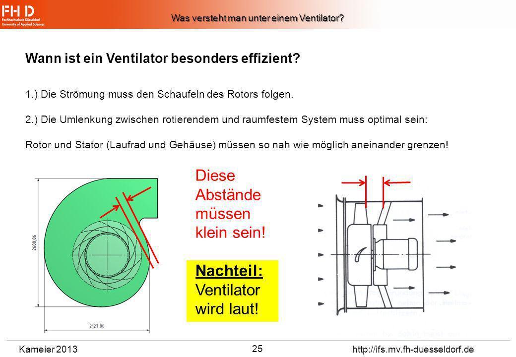 Kameier 2013 http://ifs.mv.fh-duesseldorf.de 24 Wann ist ein Ventilator effizient? Gültig nur für Radialventilator mit rückwärtsgekrümmten Schaufeln (