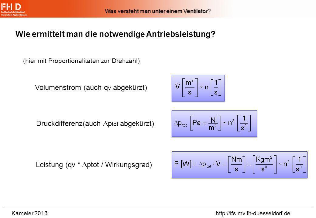 Kameier 2013 http://ifs.mv.fh-duesseldorf.de 25 Wann ist ein Ventilator besonders effizient? 1.) Die Strömung muss den Schaufeln des Rotors folgen. 2.