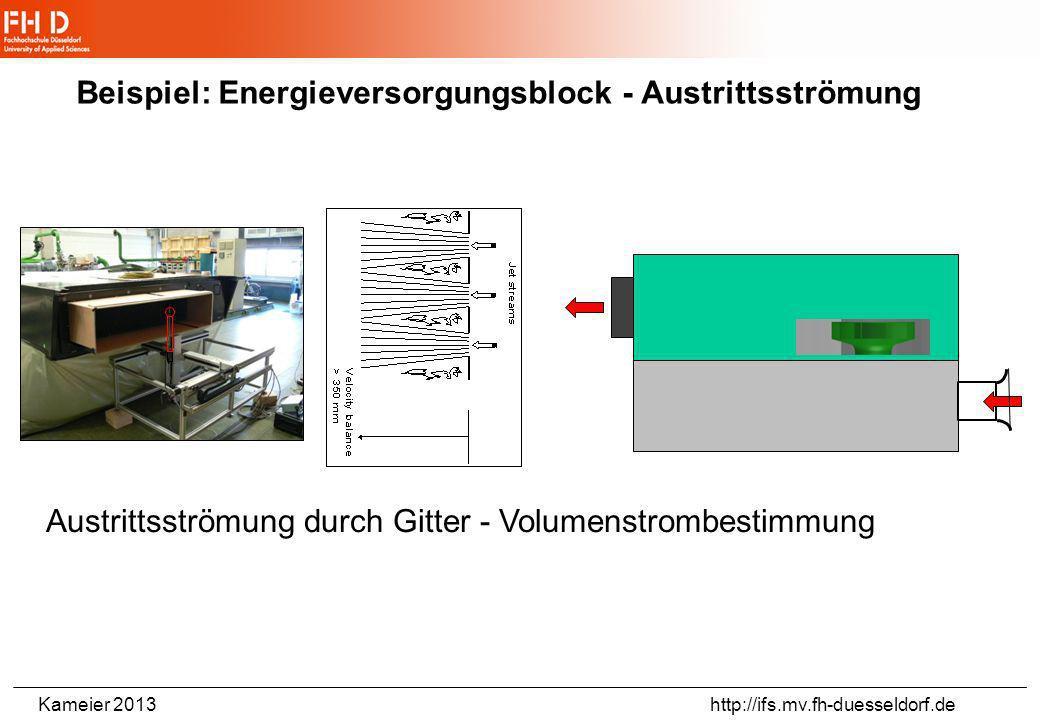 Kameier 2013 http://ifs.mv.fh-duesseldorf.de Beispiel: Lüfterkennlinie Wirkungsgrad Schallpegel Energieversorgungsblock - Bahn Kann man einen leiseren
