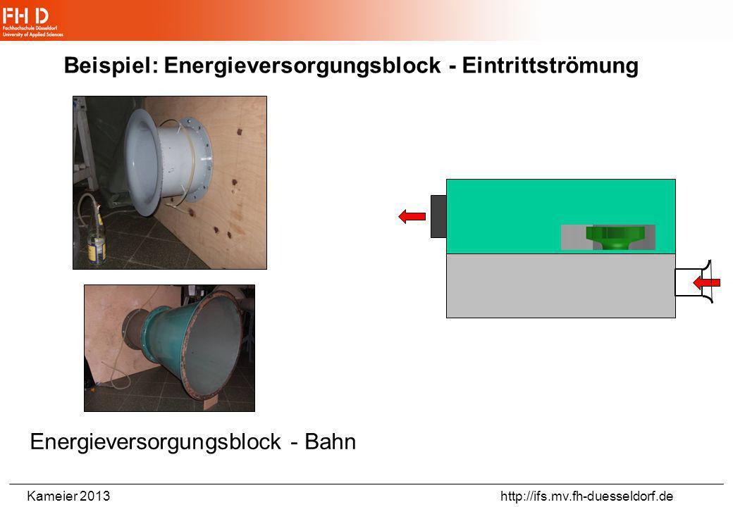 Kameier 2013 http://ifs.mv.fh-duesseldorf.de Beispiel: Energieversorgungsblock - Austrittsströmung Austrittsströmung durch Gitter - Volumenstrombestim