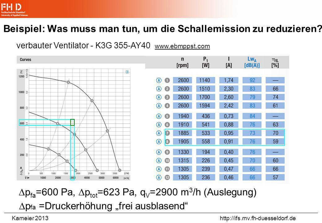 Kameier 2013 http://ifs.mv.fh-duesseldorf.de Beispiel: Energieversorgungsblock - Eintrittströmung Energieversorgungsblock - Bahn