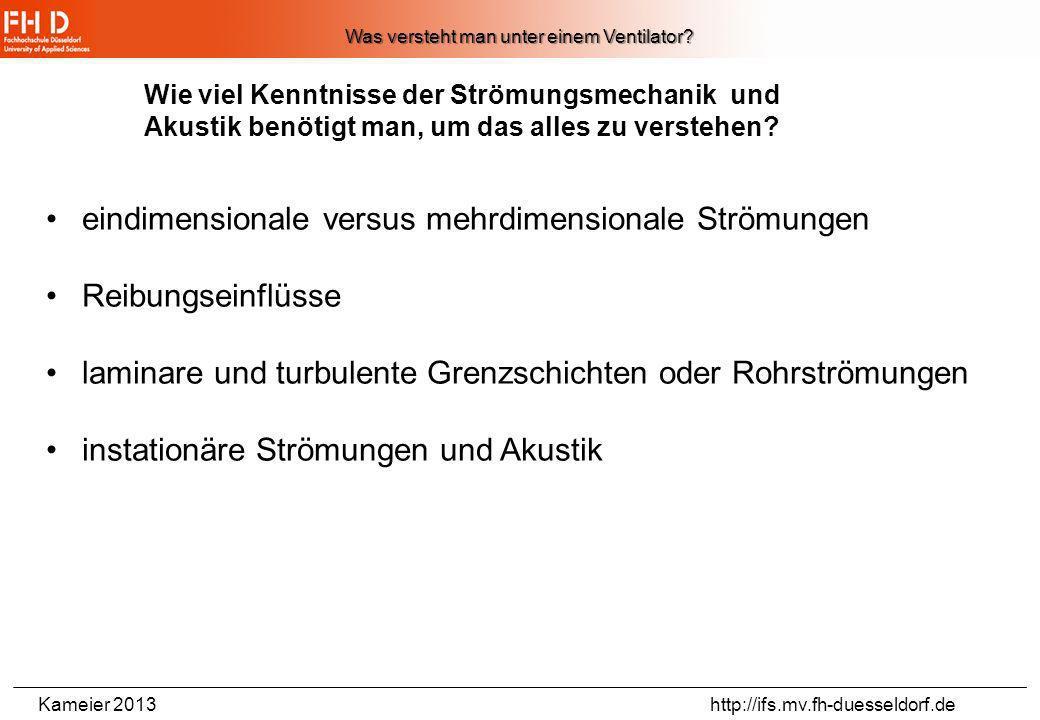 Kameier 2013 http://ifs.mv.fh-duesseldorf.de Kennlinie Axialventilator Mit verstellbaren Schaufeln Quelle: Ventilatorenfibel, Turbo-Lufttechnik, Grund