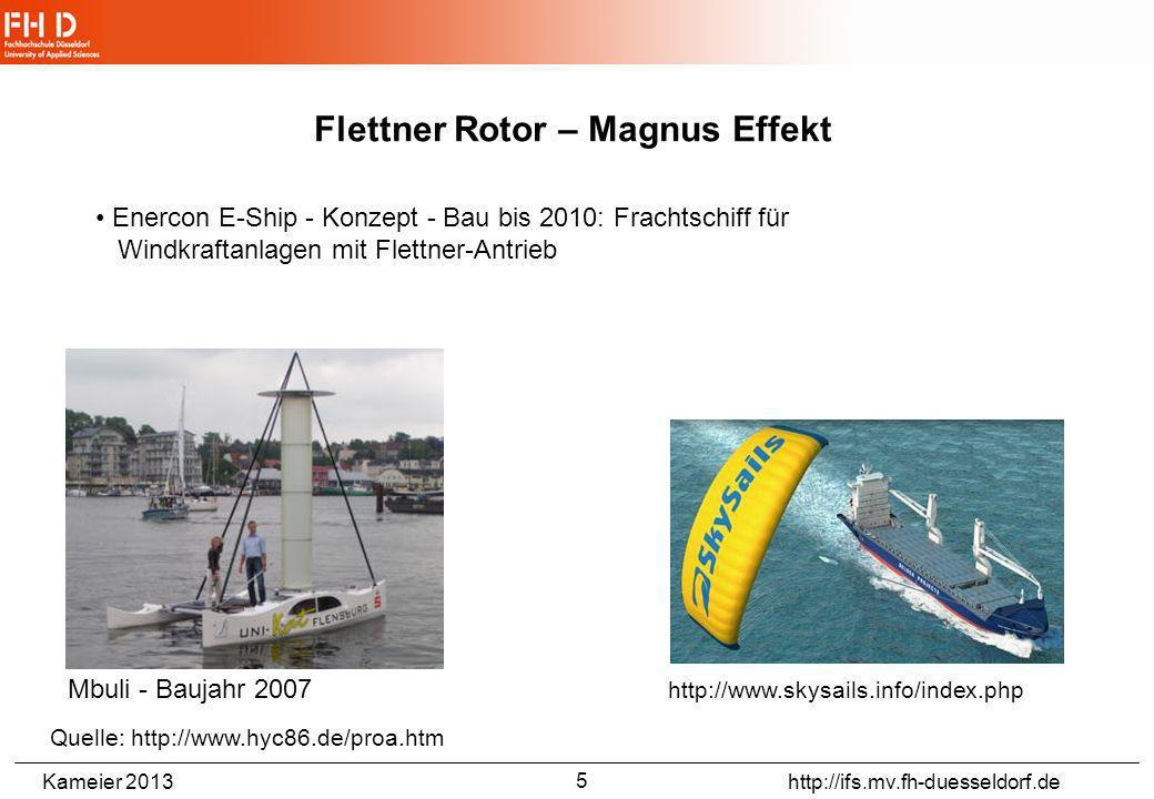 Kameier 2013 http://ifs.mv.fh-duesseldorf.de Flettner Rotor – Magnus Effekt Quelle: http://de.wikipedia.org/wiki/Flettner-Rotor Buckau - Baujahr 1924