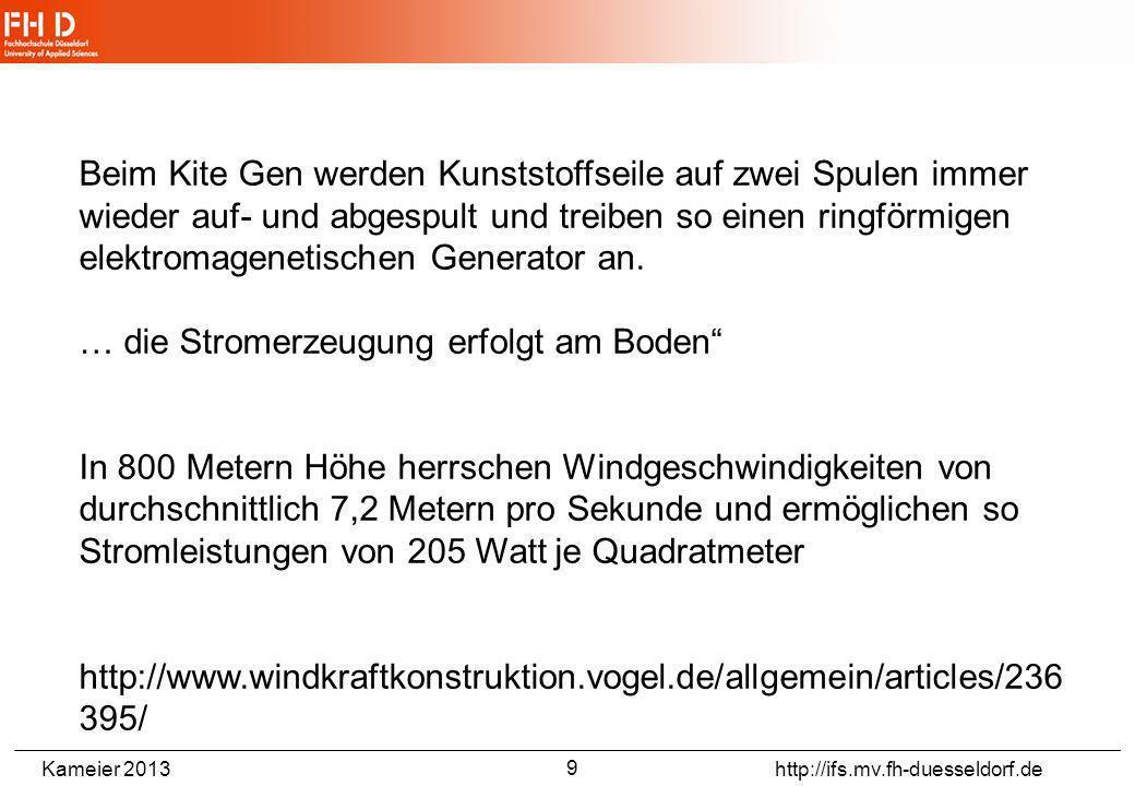Kameier 2013 http://ifs.mv.fh-duesseldorf.de http://en.wikipedia.org/wiki/Kitegen 8