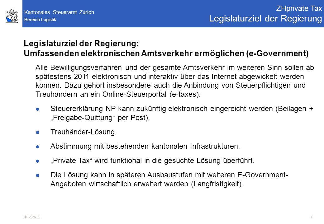 Bereich Logistik Kantonales Steueramt Zürich © KStA ZH 5 RE02 - Projektausschuss Pendenzen ZHprivate Tax RRB Regierungsratsbeschluss Nr.