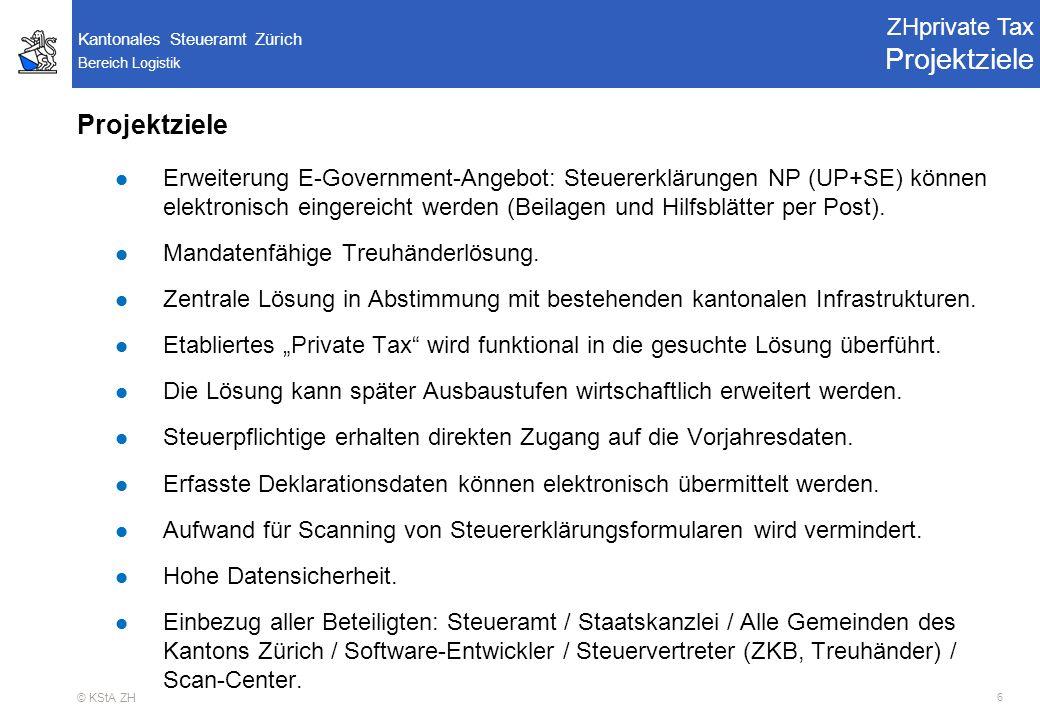 Bereich Logistik Kantonales Steueramt Zürich © KStA ZH 17 RE02 - Projektausschuss Pendenzen ZHprivate Tax Light Version Personalien Daten-Erfassung Personalien