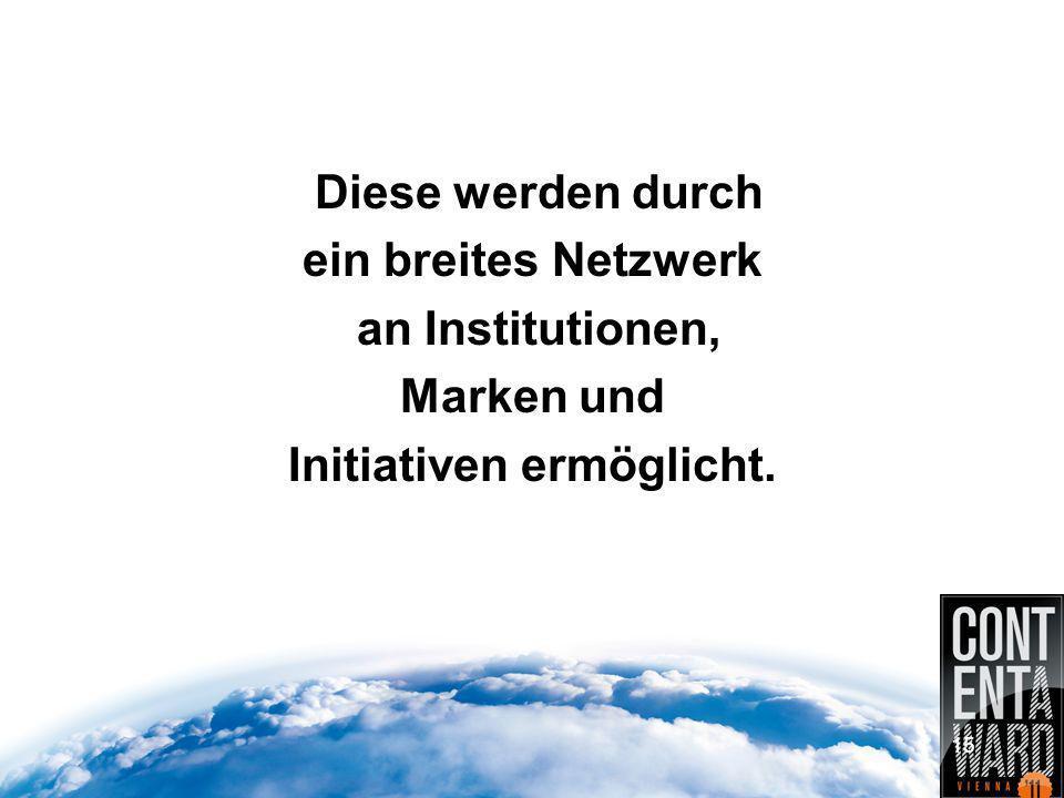 Diese werden durch ein breites Netzwerk an Institutionen, Marken und Initiativen ermöglicht. 15