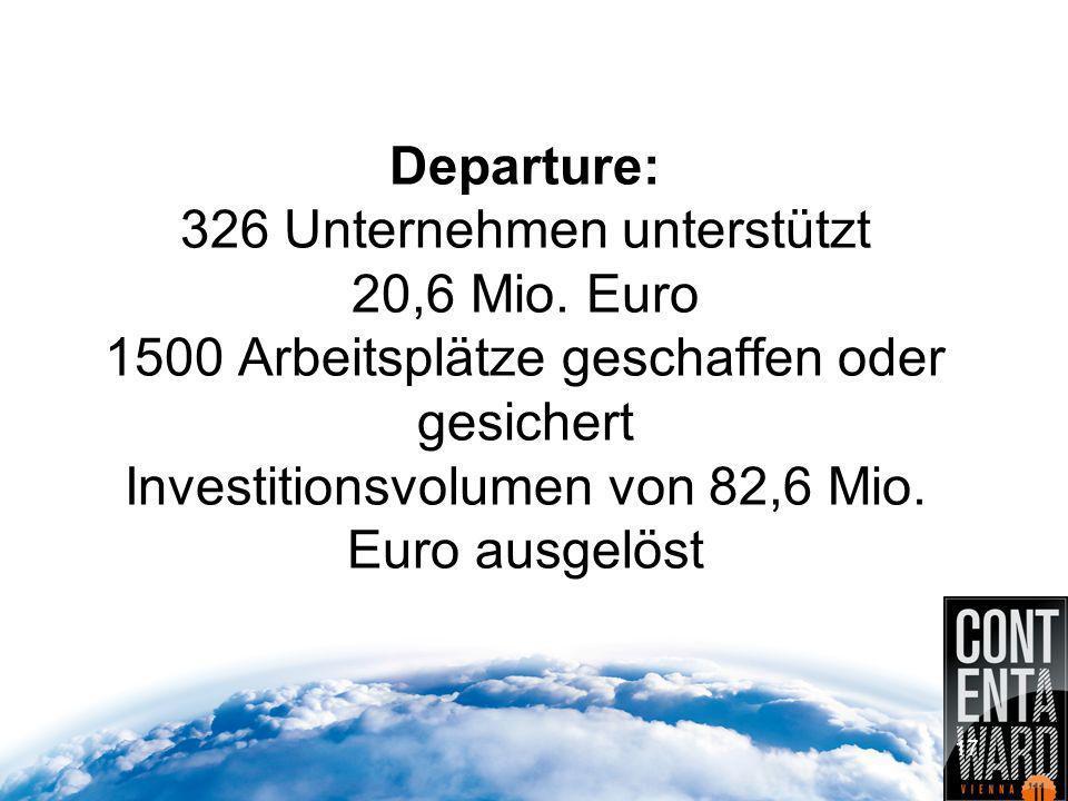 Departure: 326 Unternehmen unterstützt 20,6 Mio.