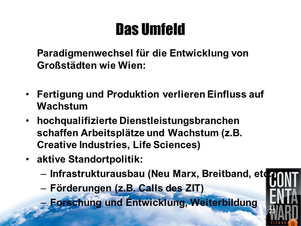 23 Das Umfeld Paradigmenwechsel für die Entwicklung von Großstädten wie Wien: Fertigung und Produktion verlieren Einfluss auf Wachstum hochqualifizierte Dienstleistungsbranchen schaffen Arbeitsplätze und Wachstum (z.B.
