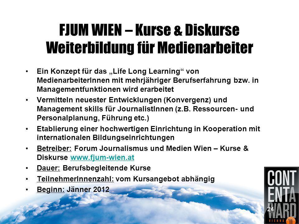 24 FJUM WIEN – Kurse & Diskurse Weiterbildung für Medienarbeiter Ein Konzept für das Life Long Learning von MedienarbeiterInnen mit mehrjähriger Berufserfahrung bzw.