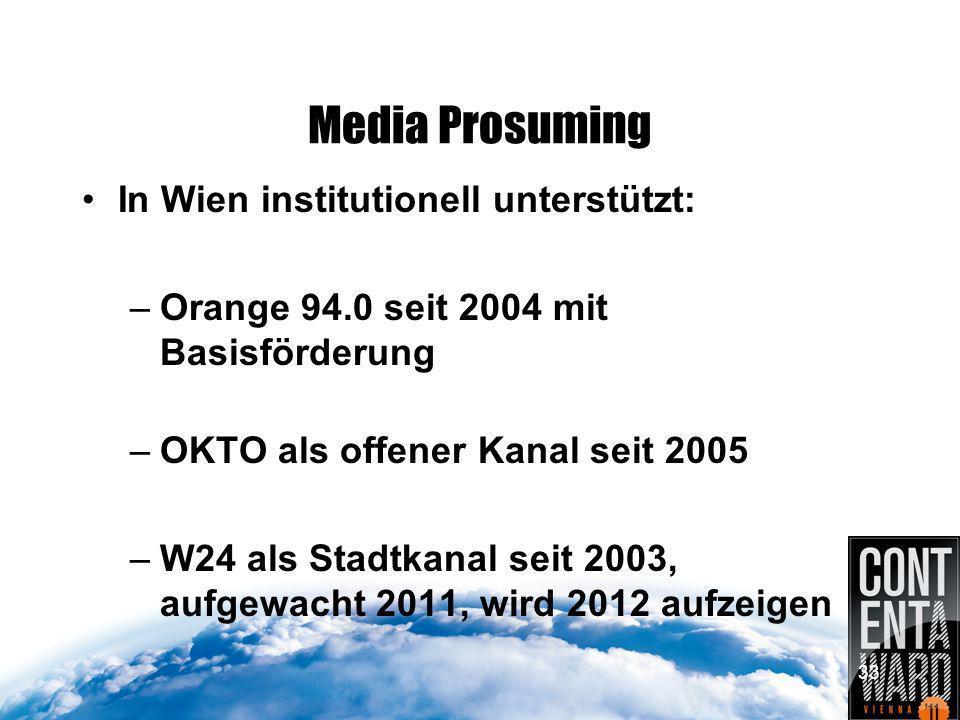Media Prosuming In Wien institutionell unterstützt: –Orange 94.0 seit 2004 mit Basisförderung –OKTO als offener Kanal seit 2005 –W24 als Stadtkanal seit 2003, aufgewacht 2011, wird 2012 aufzeigen 33