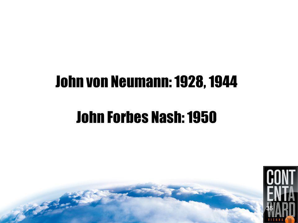 John von Neumann: 1928, 1944 John Forbes Nash: 1950 35