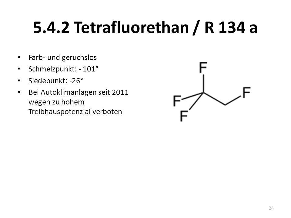 5.4.2 Tetrafluorethan / R 134 a Farb- und geruchslos Schmelzpunkt: - 101° Siedepunkt: -26° Bei Autoklimanlagen seit 2011 wegen zu hohem Treibhauspoten
