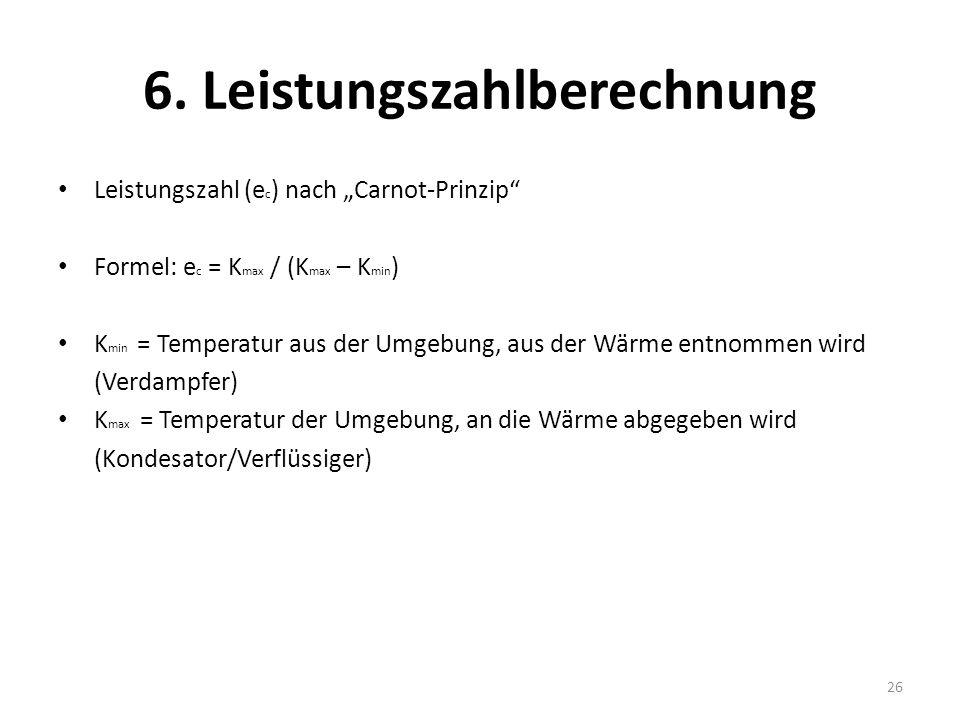 6. Leistungszahlberechnung Leistungszahl (e c ) nach Carnot-Prinzip Formel: e c = K max / (K max – K min ) K min = Temperatur aus der Umgebung, aus de
