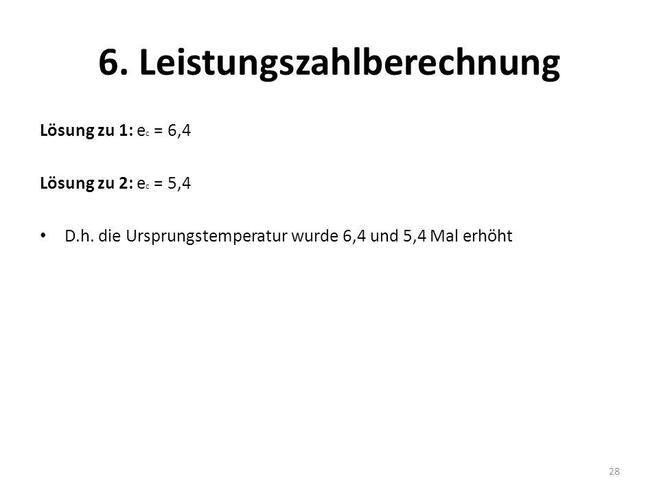 6. Leistungszahlberechnung Lösung zu 1: e c = 6,4 Lösung zu 2: e c = 5,4 D.h. die Ursprungstemperatur wurde 6,4 und 5,4 Mal erhöht 28