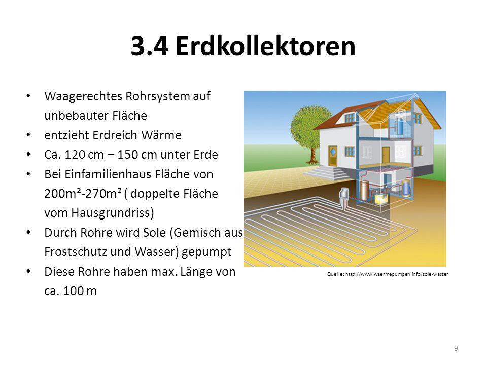 3.4 Erdkollektoren Waagerechtes Rohrsystem auf unbebauter Fläche entzieht Erdreich Wärme Ca. 120 cm – 150 cm unter Erde Bei Einfamilienhaus Fläche von