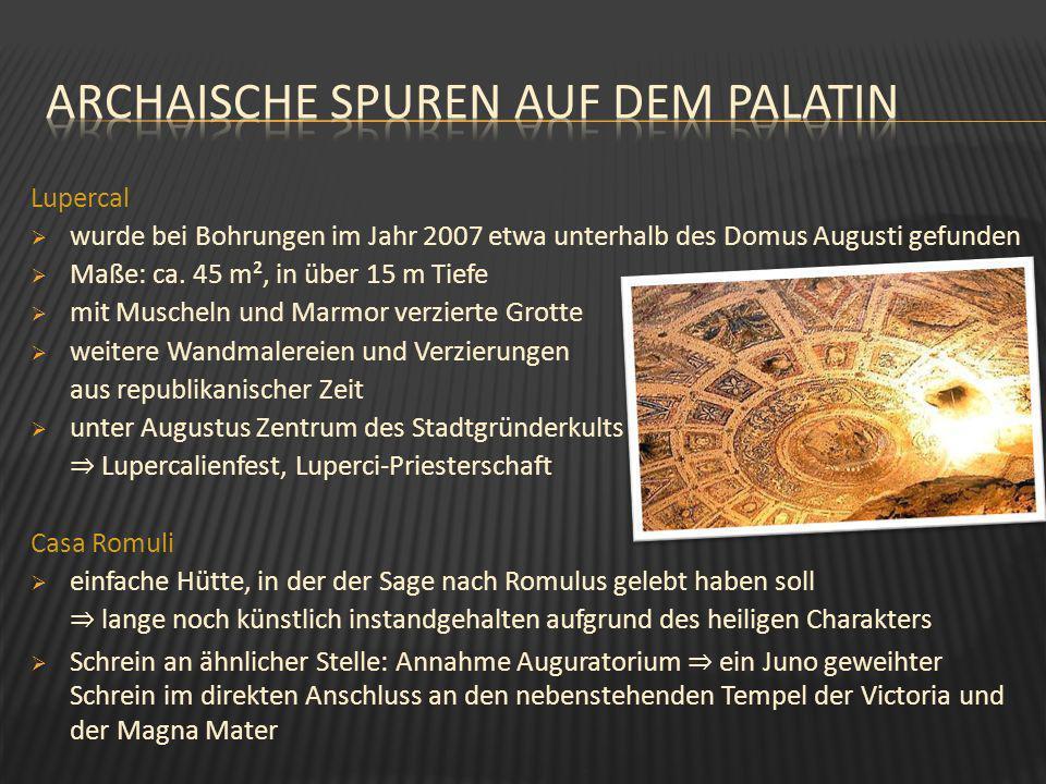 wurde bei Bohrungen im Jahr 2007 etwa unterhalb des Domus Augusti gefunden Maße: ca. 45 m², in über 15 m Tiefe mit Muscheln und Marmor verzierte Grott