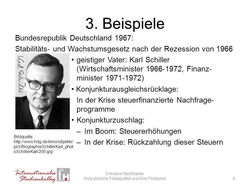 3. Beispiele Bundesrepublik Deutschland 1967: Stabilitäts- und Wachstumsgesetz nach der Rezession von 1966 geistiger Vater: Karl Schiller (Wirtschafts