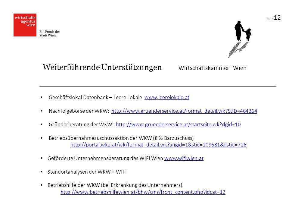 Folie 12 Geschäftslokal Datenbank – Leere Lokale www.leerelokale.atwww.leerelokale.at Nachfolgebörse der WKW: http://www.gruenderservice.at/format_det