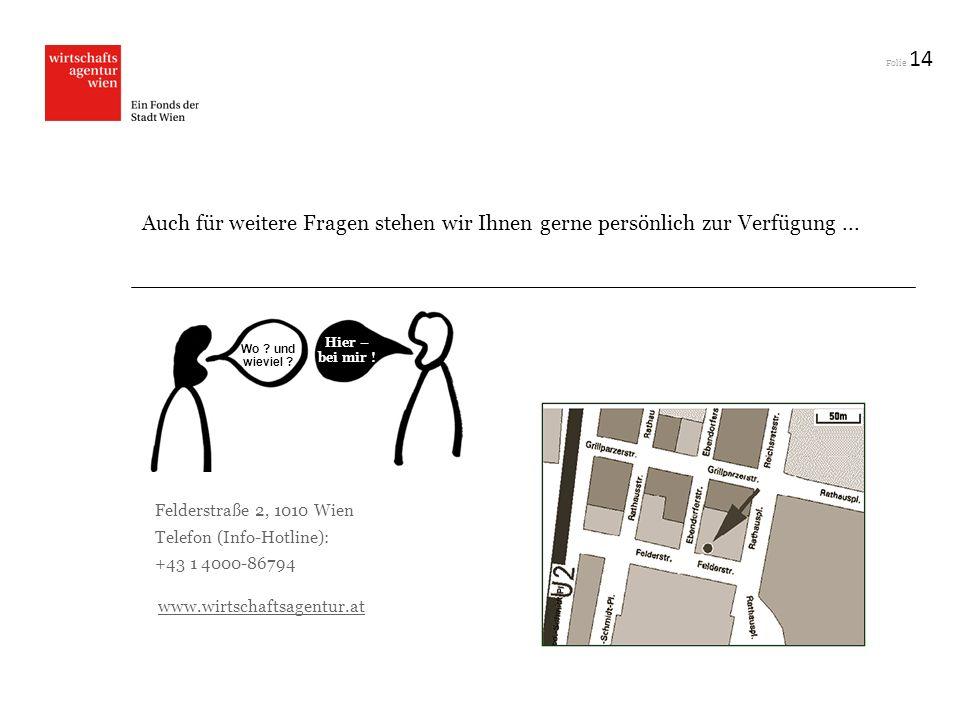 Folie 14 Auch für weitere Fragen stehen wir Ihnen gerne persönlich zur Verfügung... Felderstraße 2, 1010 Wien Telefon (Info-Hotline): +43 1 4000-86794