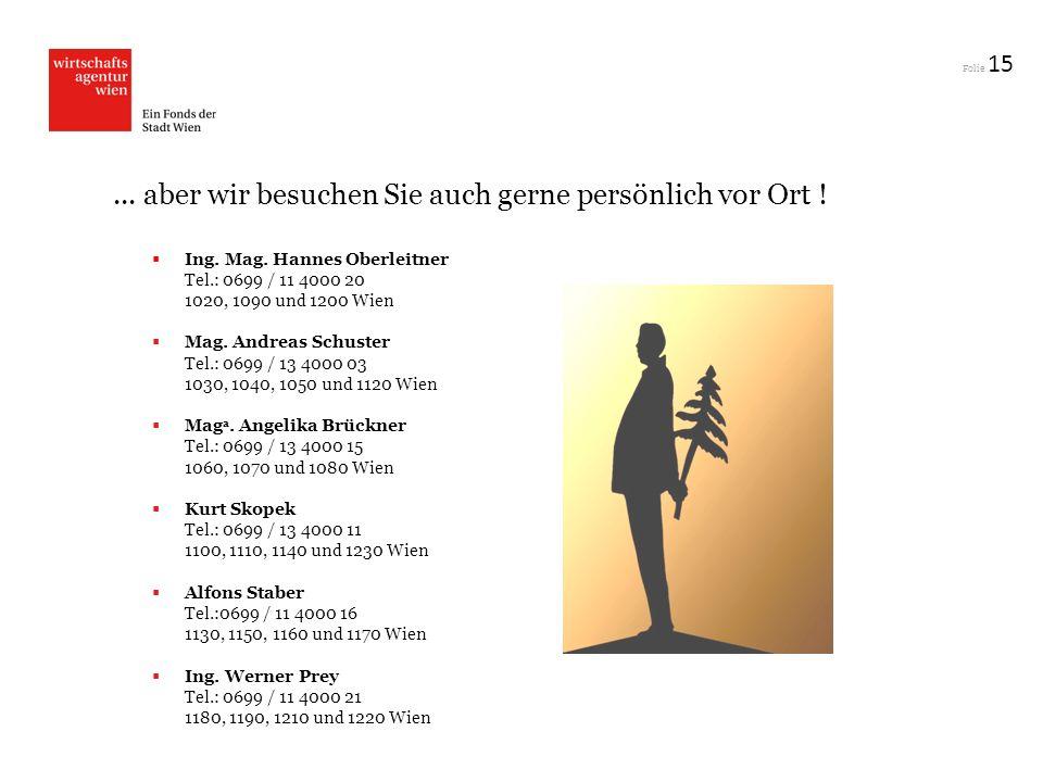 Folie 15... aber wir besuchen Sie auch gerne persönlich vor Ort ! Ing. Mag. Hannes Oberleitner Tel.: 0699 / 11 4000 20 1020, 1090 und 1200 Wien Mag. A