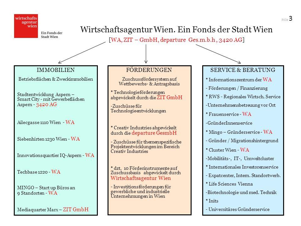 Folie 3 Wirtschaftsagentur Wien. Ein Fonds der Stadt Wien [WA, ZIT – GmbH, departure Ges.m.b.h, 3420 AG] IMMOBILIEN Betriebsflächen & Zweckimmobilien