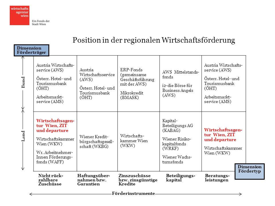 Folie 4 Position in der regionalen Wirtschaftsförderung Austria Wirtschafts- service (AWS) Österr. Hotel- und Tourismusbank (ÖHT) Arbeitsmarkt- servic