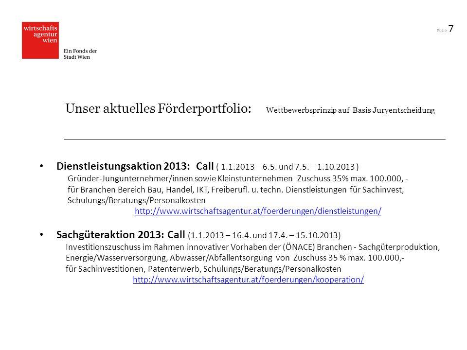 Folie 7 Unser aktuelles Förderportfolio: Wettbewerbsprinzip auf Basis Juryentscheidung Dienstleistungsaktion 2013: Call ( 1.1.2013 – 6.5. und 7.5. – 1