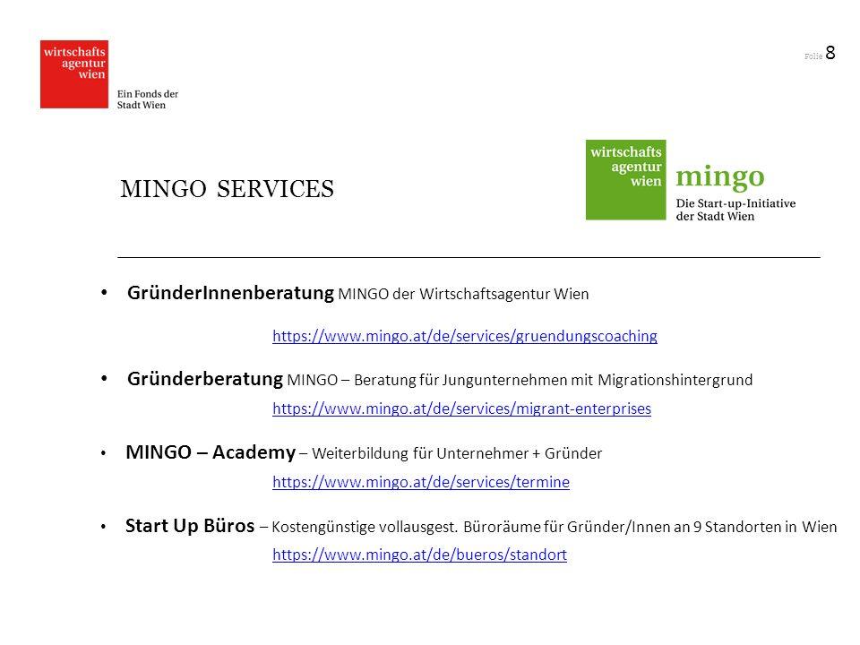 Folie 8 MINGO SERVICES GründerInnenberatung MINGO der Wirtschaftsagentur Wien https://www.mingo.at/de/services/gruendungscoaching Gründerberatung MING