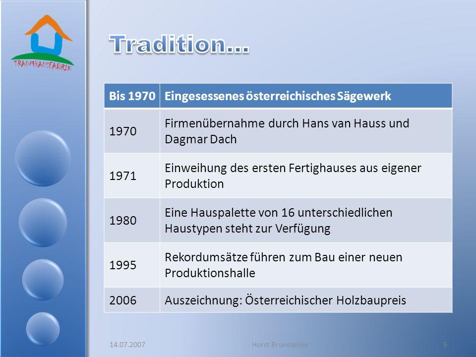 Bis 1970Eingesessenes österreichisches Sägewerk 1970 Firmenübernahme durch Hans van Hauss und Dagmar Dach 1971 Einweihung des ersten Fertighauses aus