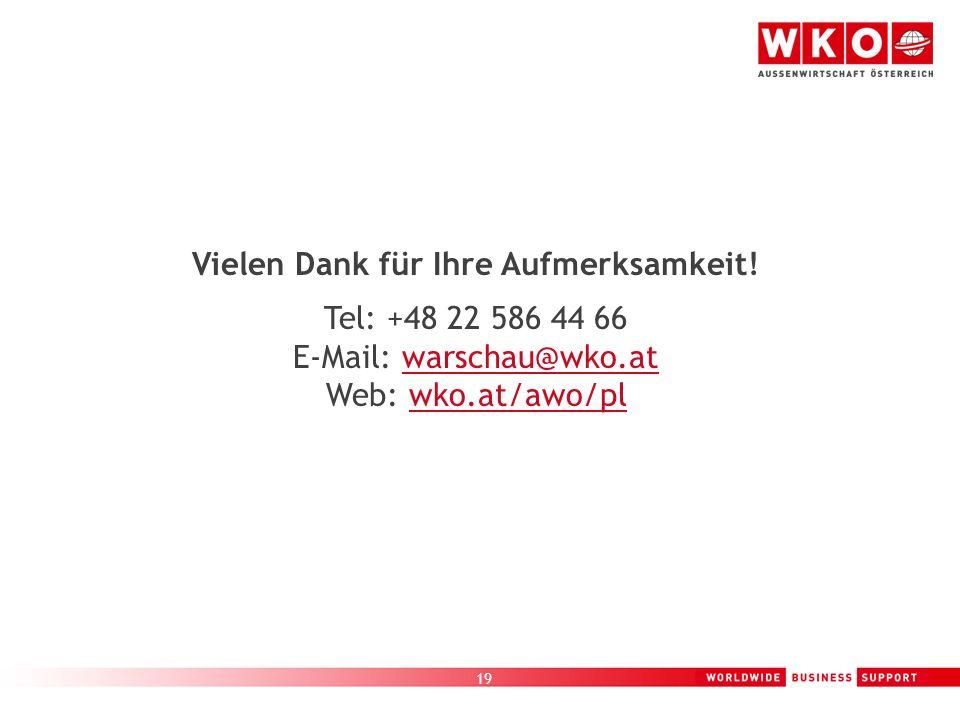 19 Vielen Dank für Ihre Aufmerksamkeit! Tel: +48 22 586 44 66 E-Mail: warschau@wko.at Web: wko.at/awo/pl