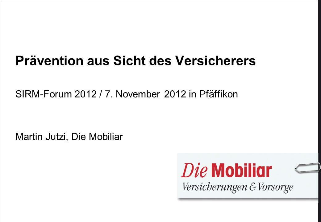 Prävention aus Sicht des Versicherers SIRM-Forum 2012 / 7. November 2012 in Pfäffikon Martin Jutzi, Die Mobiliar