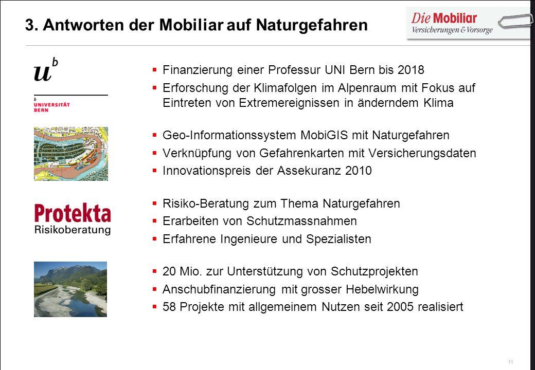 11 3. Antworten der Mobiliar auf Naturgefahren Finanzierung einer Professur UNI Bern bis 2018 Erforschung der Klimafolgen im Alpenraum mit Fokus auf E