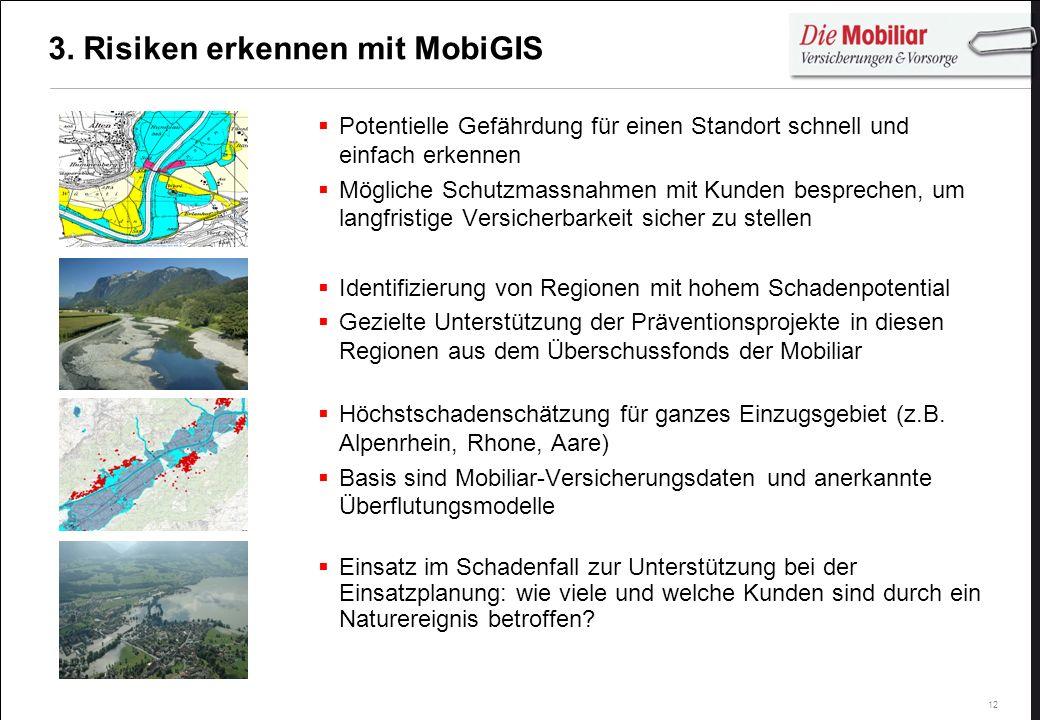 12 3. Risiken erkennen mit MobiGIS Potentielle Gefährdung für einen Standort schnell und einfach erkennen Mögliche Schutzmassnahmen mit Kunden besprec