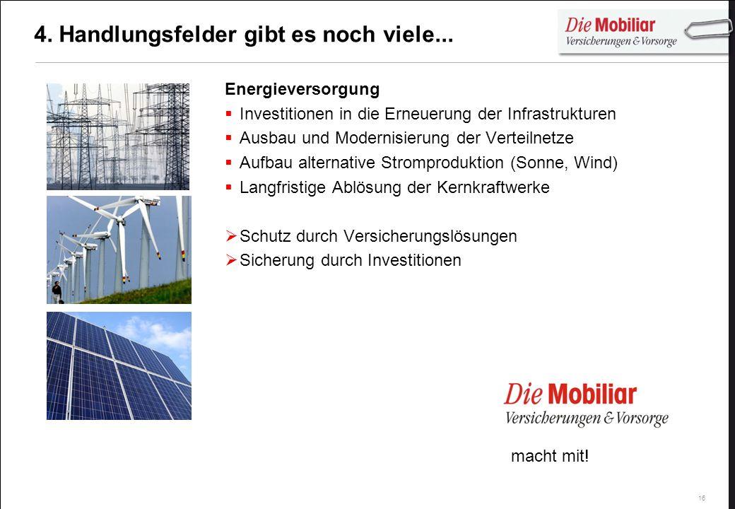 16 4. Handlungsfelder gibt es noch viele... Energieversorgung Investitionen in die Erneuerung der Infrastrukturen Ausbau und Modernisierung der Vertei