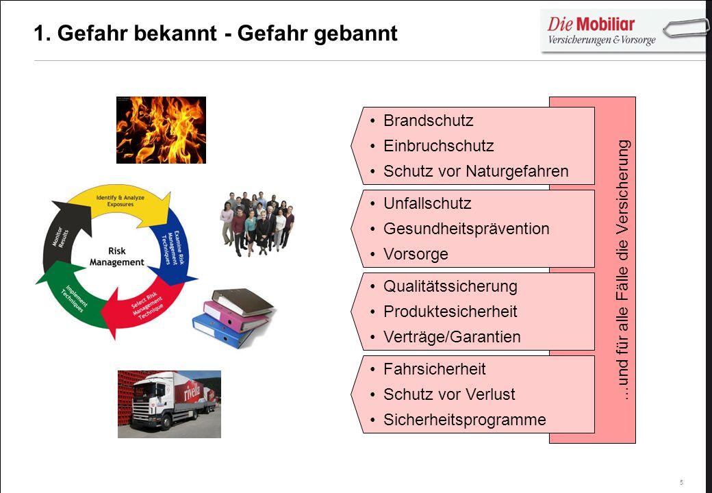 5...und für alle Fälle die Versicherung 1. Gefahr bekannt - Gefahr gebannt Brandschutz Einbruchschutz Schutz vor Naturgefahren Fahrsicherheit Schutz v