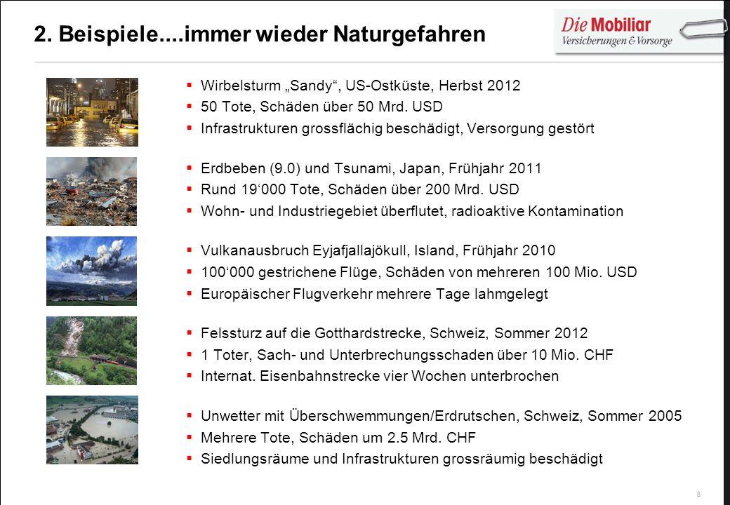 8 2. Beispiele....immer wieder Naturgefahren Wirbelsturm Sandy, US-Ostküste, Herbst 2012 50 Tote, Schäden über 50 Mrd. USD Infrastrukturen grossflächi