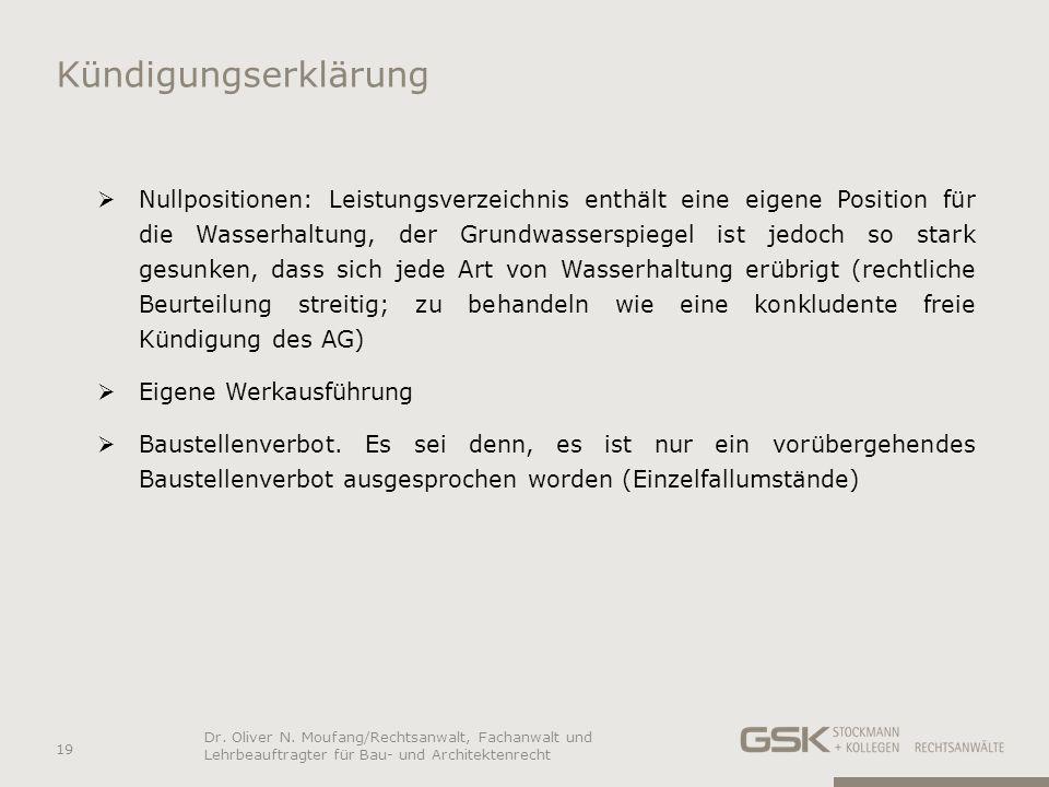 Kündigungserklärung Nullpositionen: Leistungsverzeichnis enthält eine eigene Position für die Wasserhaltung, der Grundwasserspiegel ist jedoch so star