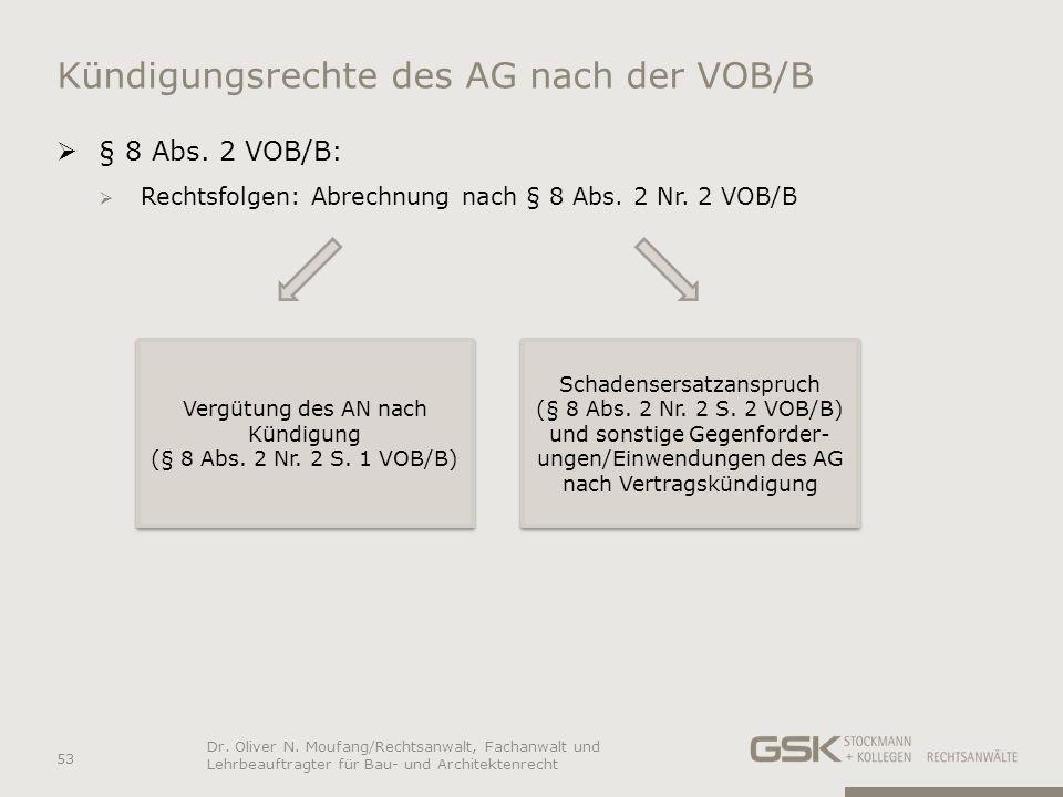 Kündigungsrechte des AG nach der VOB/B § 8 Abs. 2 VOB/B: Rechtsfolgen: Abrechnung nach § 8 Abs. 2 Nr. 2 VOB/B 53 Dr. Oliver N. Moufang/Rechtsanwalt, F