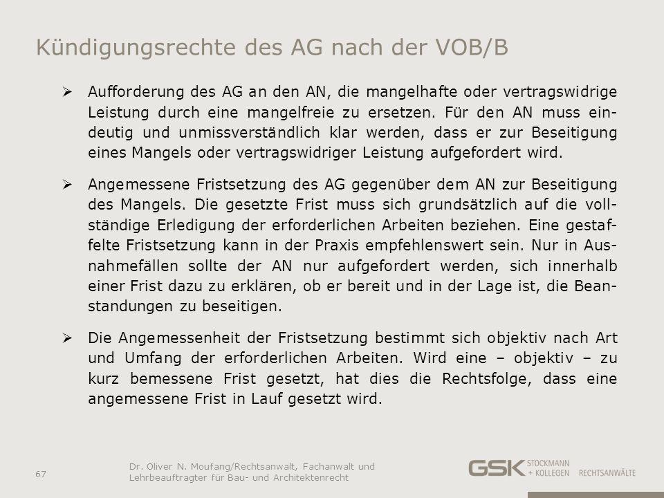 Kündigungsrechte des AG nach der VOB/B Aufforderung des AG an den AN, die mangelhafte oder vertragswidrige Leistung durch eine mangelfreie zu ersetzen