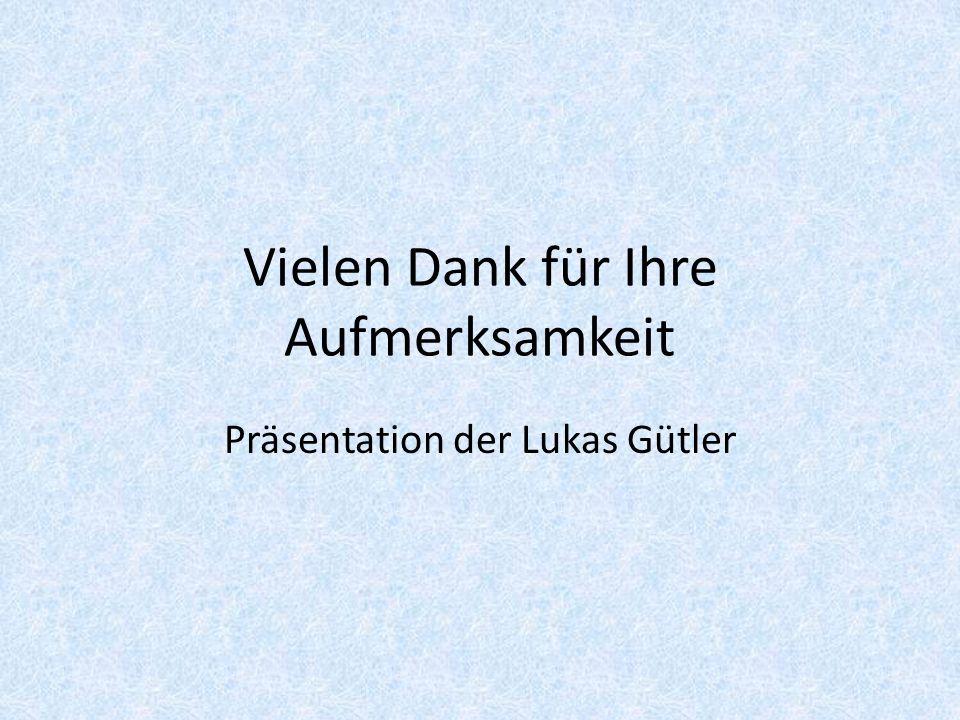 Vielen Dank für Ihre Aufmerksamkeit Präsentation der Lukas Gütler