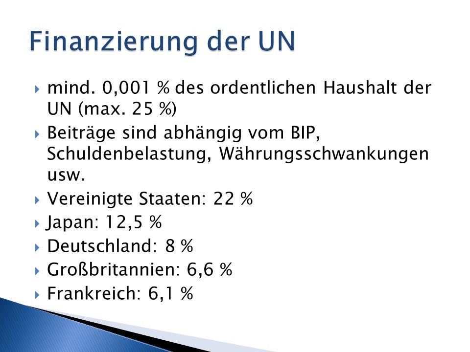 mind. 0,001 % des ordentlichen Haushalt der UN (max. 25 %) Beiträge sind abhängig vom BIP, Schuldenbelastung, Währungsschwankungen usw. Vereinigte Sta