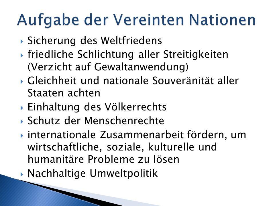 Sicherung des Weltfriedens friedliche Schlichtung aller Streitigkeiten (Verzicht auf Gewaltanwendung) Gleichheit und nationale Souveränität aller Staa