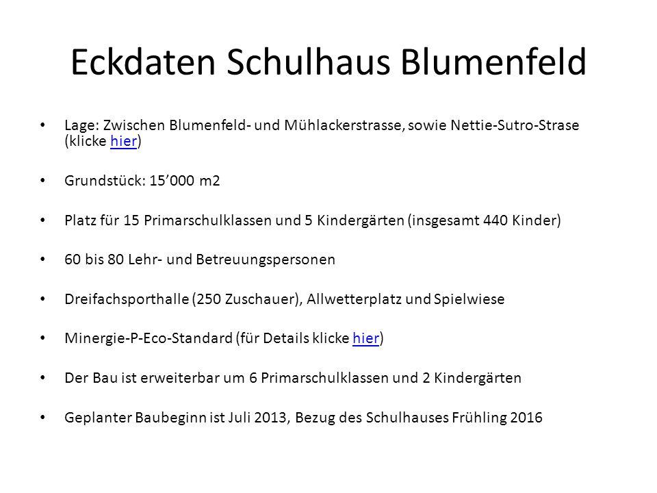 Eckdaten Schulhaus Blumenfeld Lage: Zwischen Blumenfeld- und Mühlackerstrasse, sowie Nettie-Sutro-Strase (klicke hier)hier Grundstück: 15000 m2 Platz