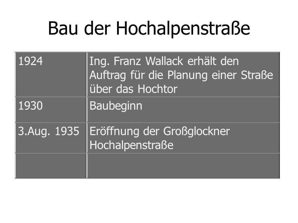 Bau der Hochalpenstraße 1924Ing. Franz Wallack erhält den Auftrag für die Planung einer Straße über das Hochtor 1930Baubeginn 3.Aug. 1935Eröffnung der