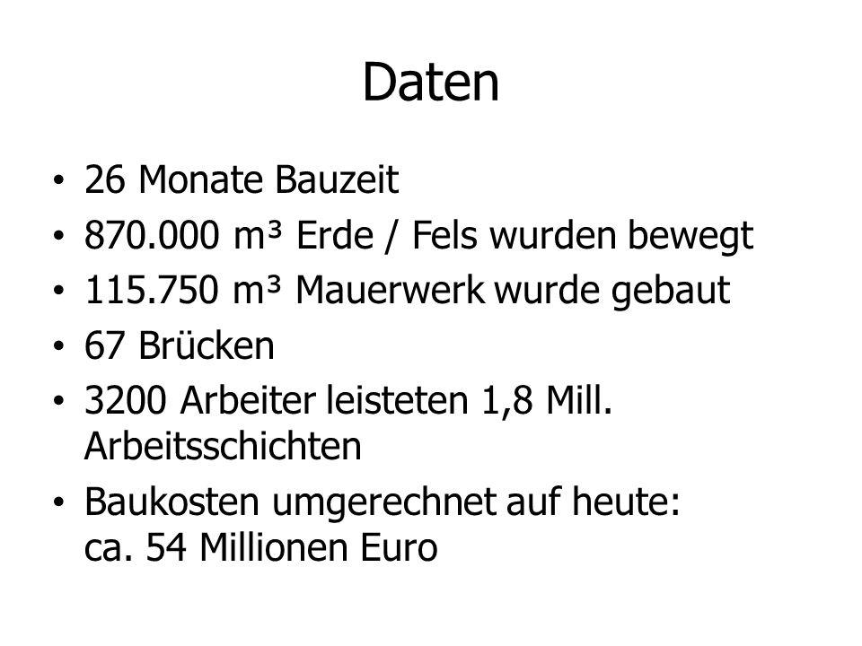 Daten 26 Monate Bauzeit 870.000 m³ Erde / Fels wurden bewegt 115.750 m³ Mauerwerk wurde gebaut 67 Brücken 3200 Arbeiter leisteten 1,8 Mill. Arbeitssch